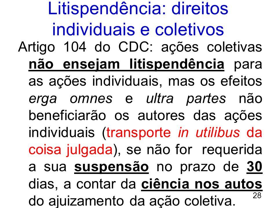 Litispendência: direitos individuais e coletivos Artigo 104 do CDC: ações coletivas não ensejam litispendência para as ações individuais, mas os efeit