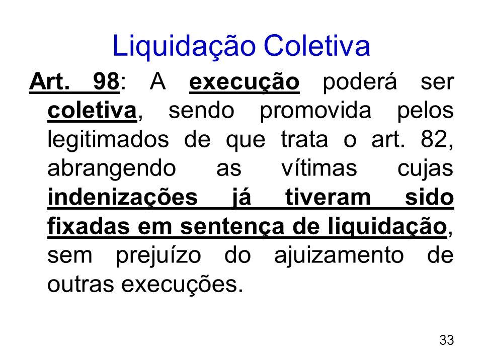 Liquidação Coletiva Art. 98: A execução poderá ser coletiva, sendo promovida pelos legitimados de que trata o art. 82, abrangendo as vítimas cujas ind