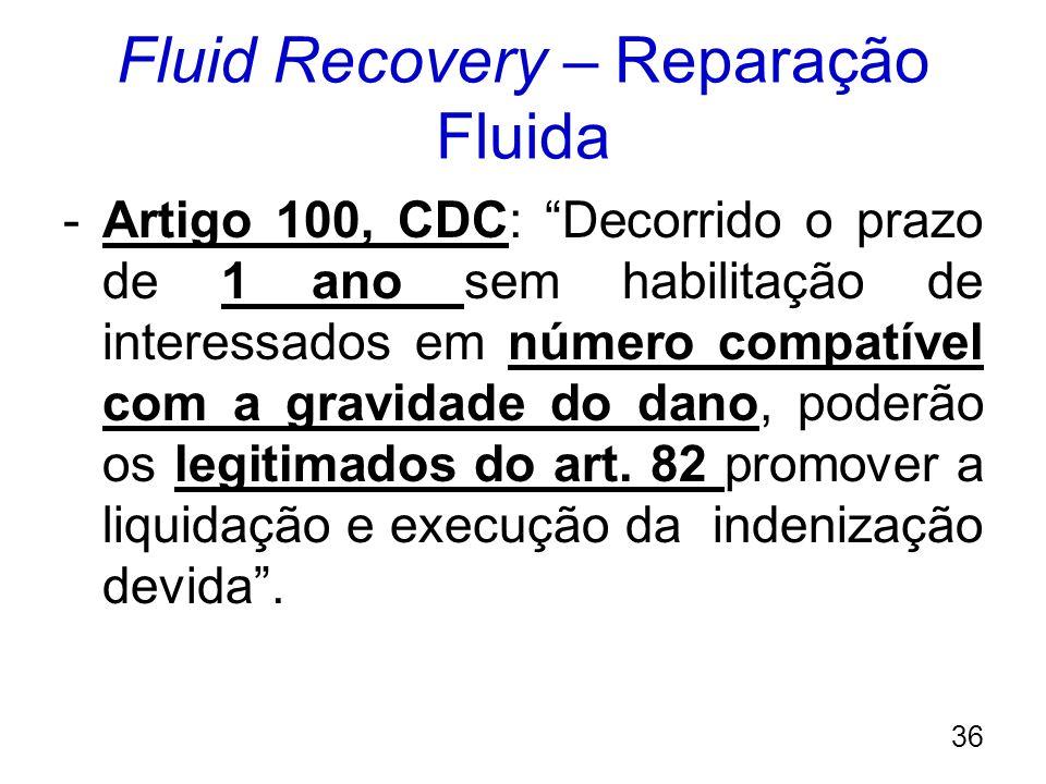Fluid Recovery – Reparação Fluida -Artigo 100, CDC: Decorrido o prazo de 1 ano sem habilitação de interessados em número compatível com a gravidade do