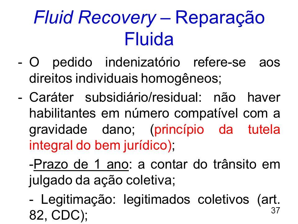 Fluid Recovery – Reparação Fluida -O pedido indenizatório refere-se aos direitos individuais homogêneos; -Caráter subsidiário/residual: não haver habi