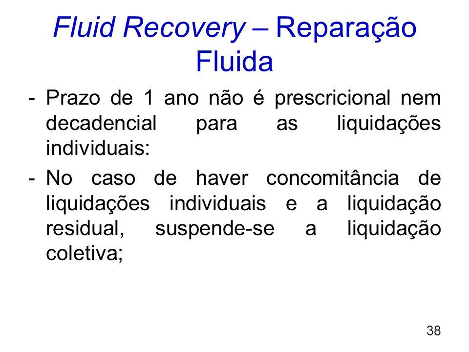 Fluid Recovery – Reparação Fluida -Prazo de 1 ano não é prescricional nem decadencial para as liquidações individuais: -No caso de haver concomitância
