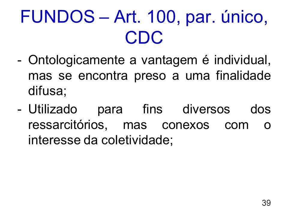 FUNDOS – Art. 100, par. único, CDC -Ontologicamente a vantagem é individual, mas se encontra preso a uma finalidade difusa; -Utilizado para fins diver