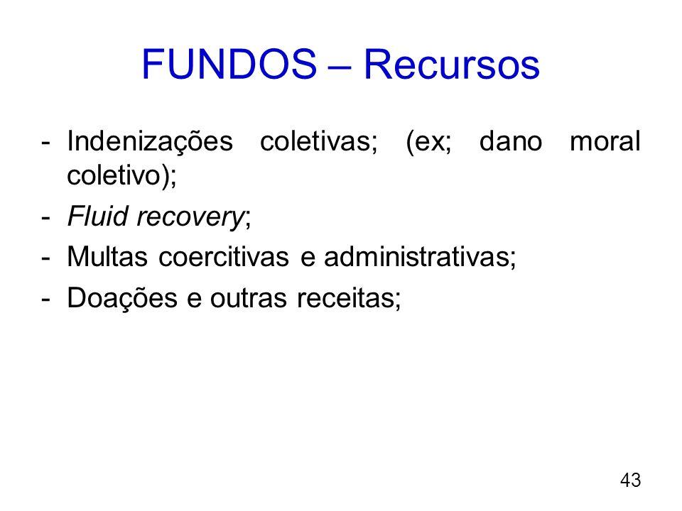 FUNDOS – Recursos -Indenizações coletivas; (ex; dano moral coletivo); -Fluid recovery; -Multas coercitivas e administrativas; -Doações e outras receit