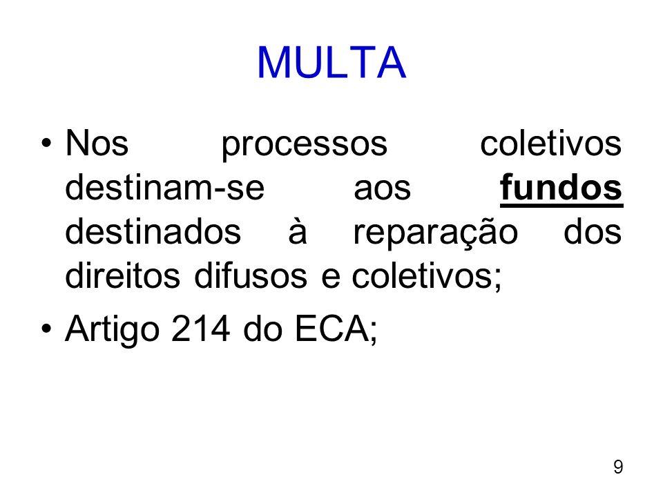 MULTA Nos processos coletivos destinam-se aos fundos destinados à reparação dos direitos difusos e coletivos; Artigo 214 do ECA; 9