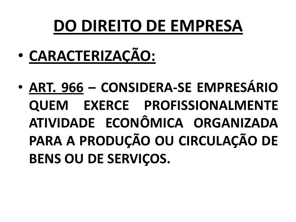 DO DIREITO DE EMPRESA CARACTERIZAÇÃO: ART. 966 – CONSIDERA-SE EMPRESÁRIO QUEM EXERCE PROFISSIONALMENTE ATIVIDADE ECONÔMICA ORGANIZADA PARA A PRODUÇÃO
