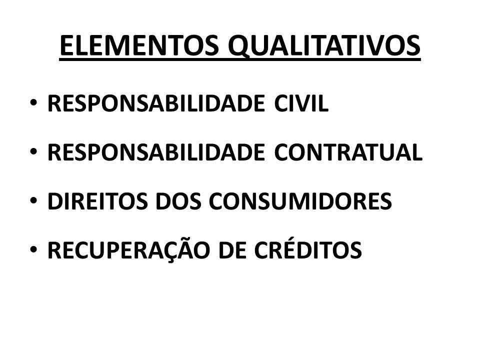 ELEMENTOS QUALITATIVOS RESPONSABILIDADE CIVIL RESPONSABILIDADE CONTRATUAL DIREITOS DOS CONSUMIDORES RECUPERAÇÃO DE CRÉDITOS