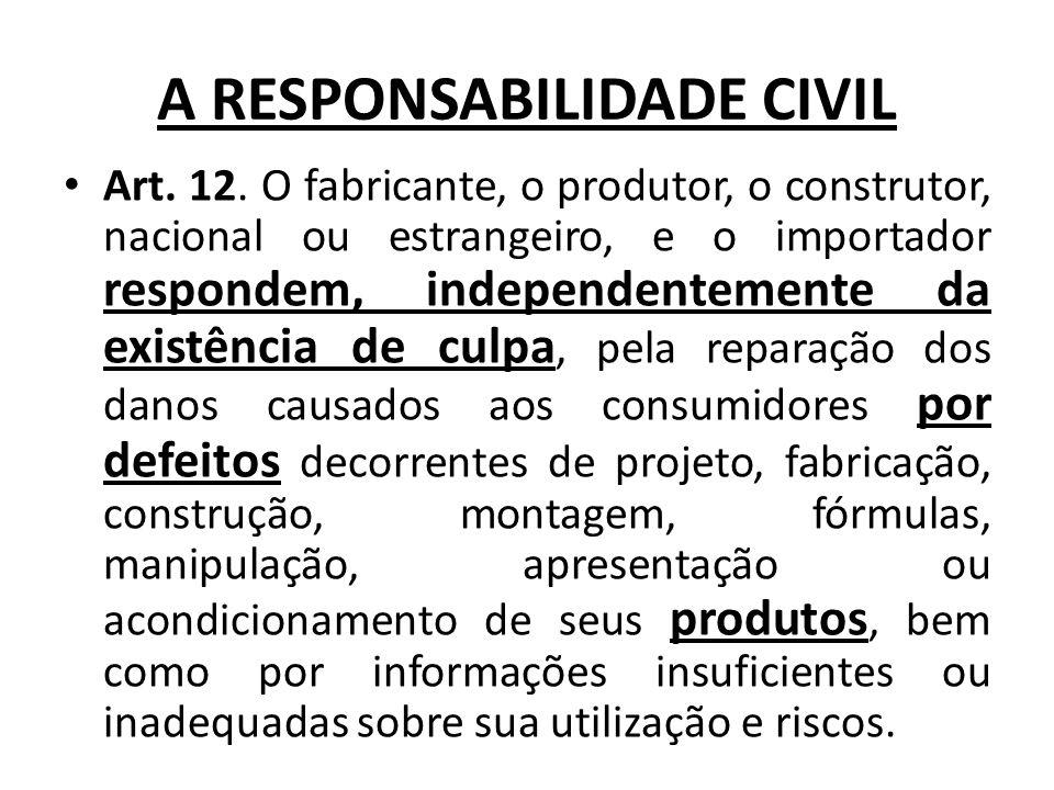 A RESPONSABILIDADE CIVIL Art. 12. O fabricante, o produtor, o construtor, nacional ou estrangeiro, e o importador respondem, independentemente da exis