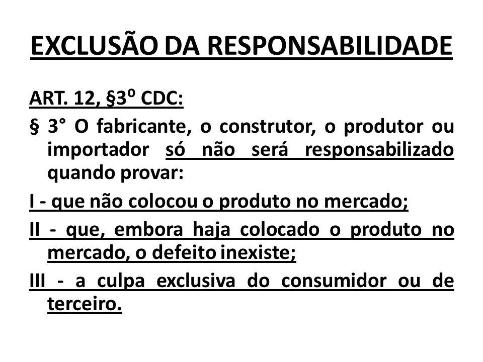 EXCLUSÃO DA RESPONSABILIDADE ART. 12, §3 CDC: § 3° O fabricante, o construtor, o produtor ou importador só não será responsabilizado quando provar: I