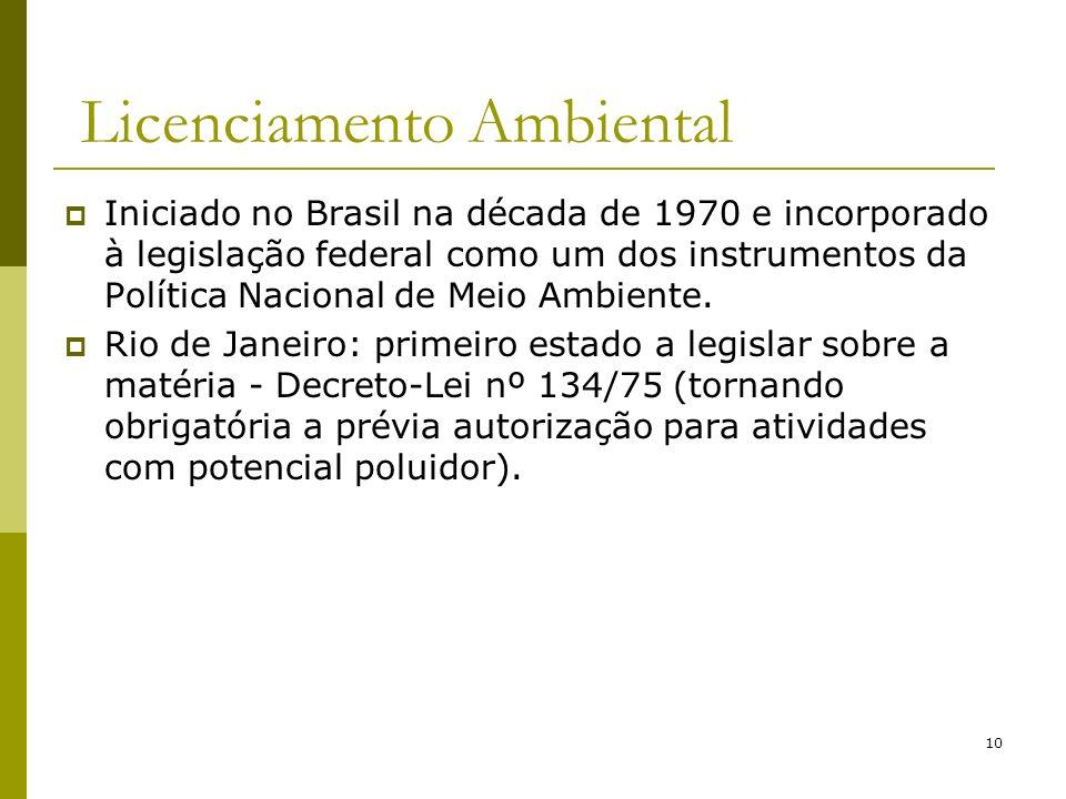 10 Licenciamento Ambiental Iniciado no Brasil na década de 1970 e incorporado à legislação federal como um dos instrumentos da Política Nacional de Me