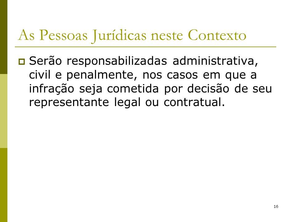 16 As Pessoas Jurídicas neste Contexto Serão responsabilizadas administrativa, civil e penalmente, nos casos em que a infração seja cometida por decis