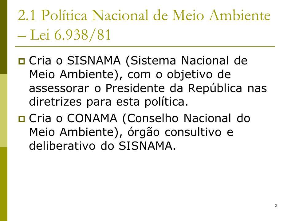 2 2.1 Política Nacional de Meio Ambiente – Lei 6.938/81 Cria o SISNAMA (Sistema Nacional de Meio Ambiente), com o objetivo de assessorar o Presidente