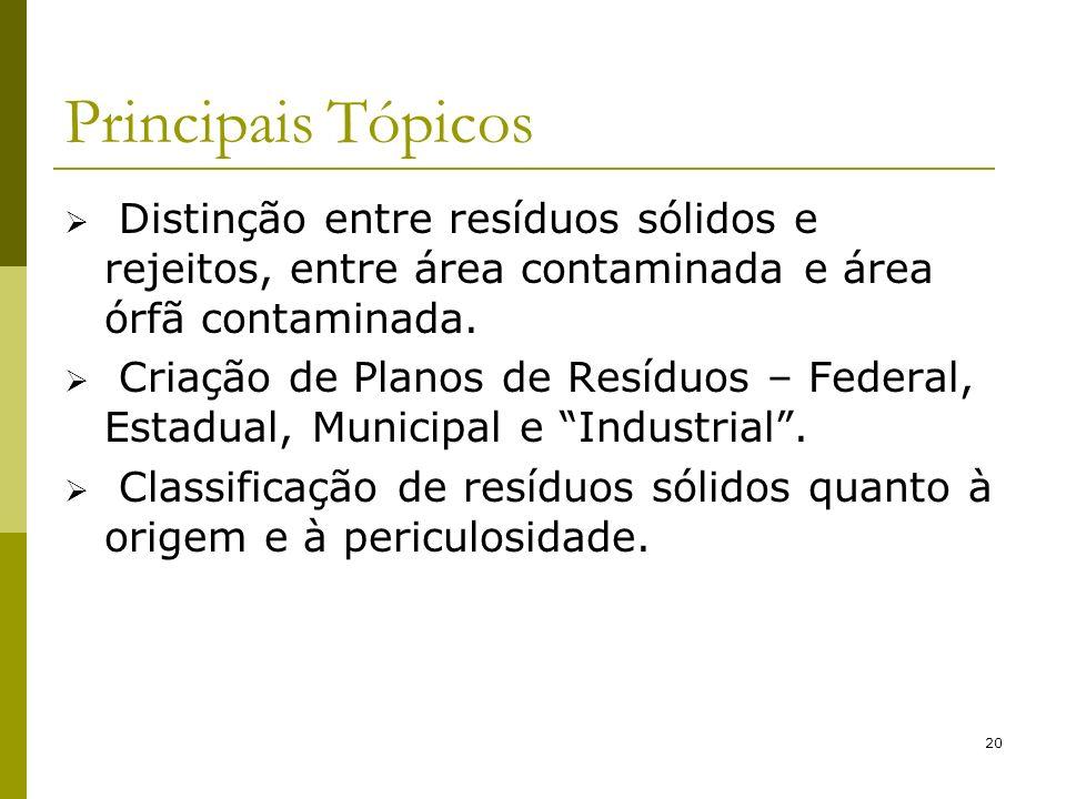 20 Principais Tópicos Distinção entre resíduos sólidos e rejeitos, entre área contaminada e área órfã contaminada. Criação de Planos de Resíduos – Fed