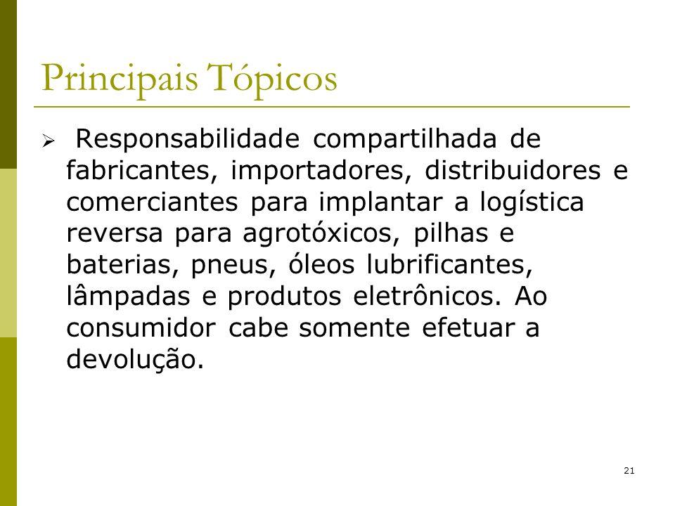 21 Principais Tópicos Responsabilidade compartilhada de fabricantes, importadores, distribuidores e comerciantes para implantar a logística reversa pa