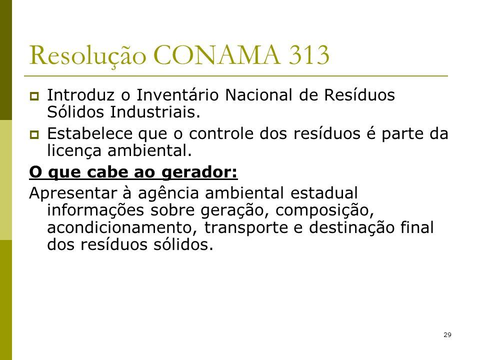 29 Resolução CONAMA 313 Introduz o Inventário Nacional de Resíduos Sólidos Industriais. Estabelece que o controle dos resíduos é parte da licença ambi