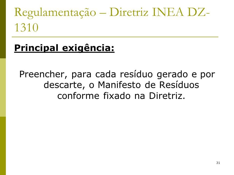31 Regulamentação – Diretriz INEA DZ- 1310 Principal exigência: Preencher, para cada resíduo gerado e por descarte, o Manifesto de Resíduos conforme f
