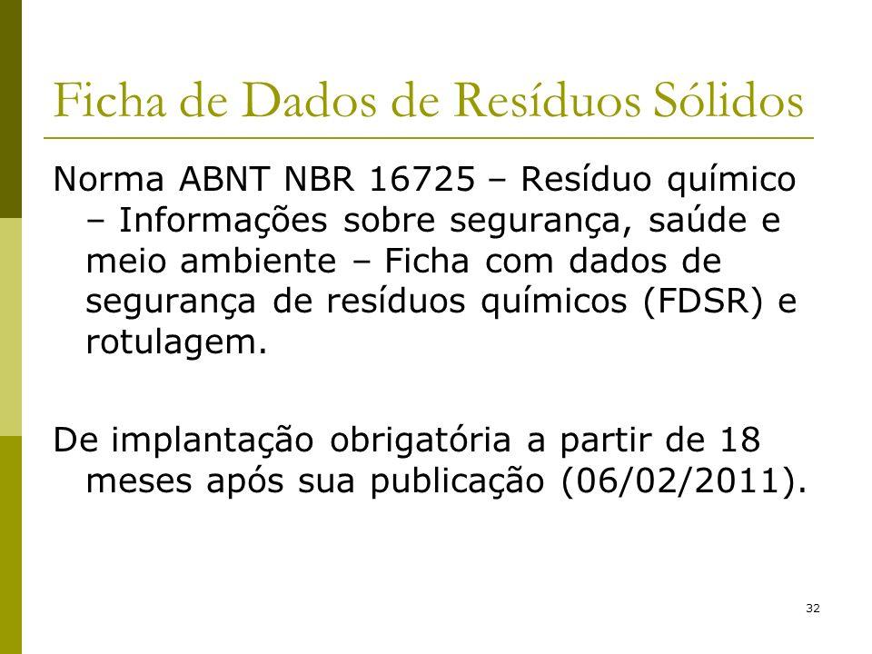 32 Ficha de Dados de Resíduos Sólidos Norma ABNT NBR 16725 – Resíduo químico – Informações sobre segurança, saúde e meio ambiente – Ficha com dados de