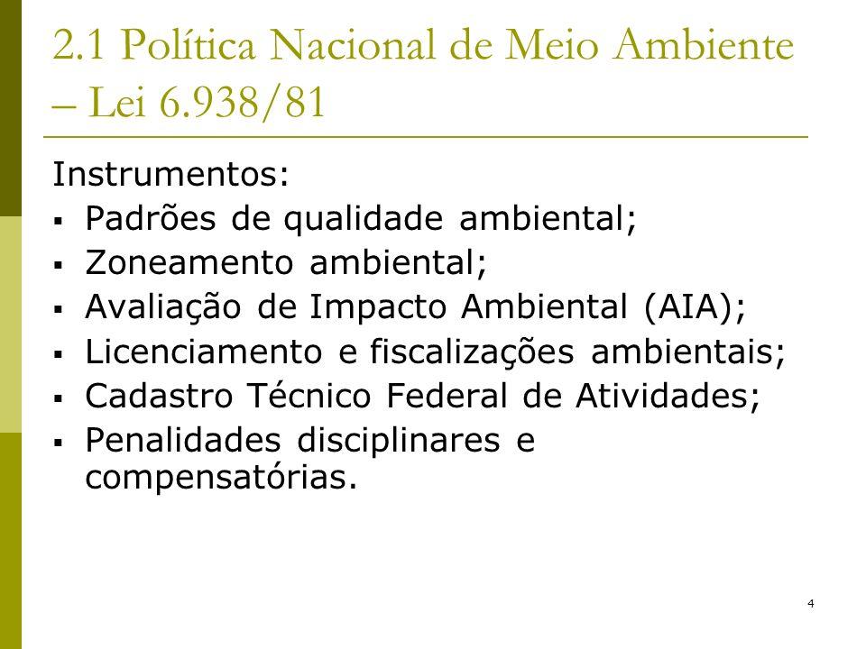 4 2.1 Política Nacional de Meio Ambiente – Lei 6.938/81 Instrumentos: Padrões de qualidade ambiental; Zoneamento ambiental; Avaliação de Impacto Ambie