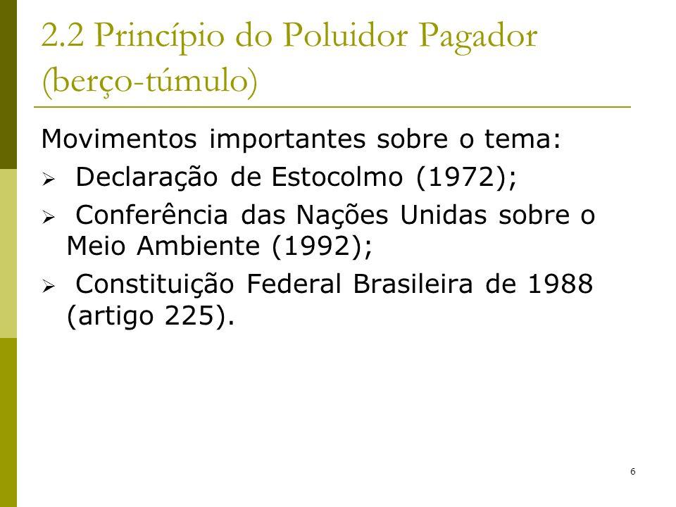 6 2.2 Princípio do Poluidor Pagador (berço-túmulo) Movimentos importantes sobre o tema: Declaração de Estocolmo (1972); Conferência das Nações Unidas