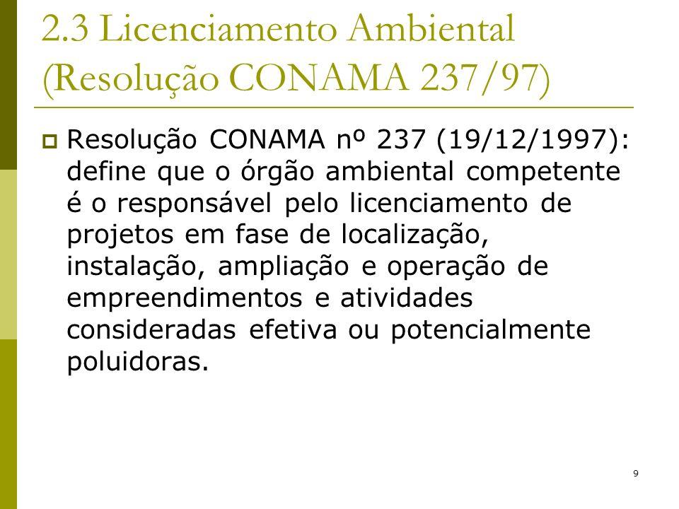 9 2.3 Licenciamento Ambiental (Resolução CONAMA 237/97) Resolução CONAMA nº 237 (19/12/1997): define que o órgão ambiental competente é o responsável