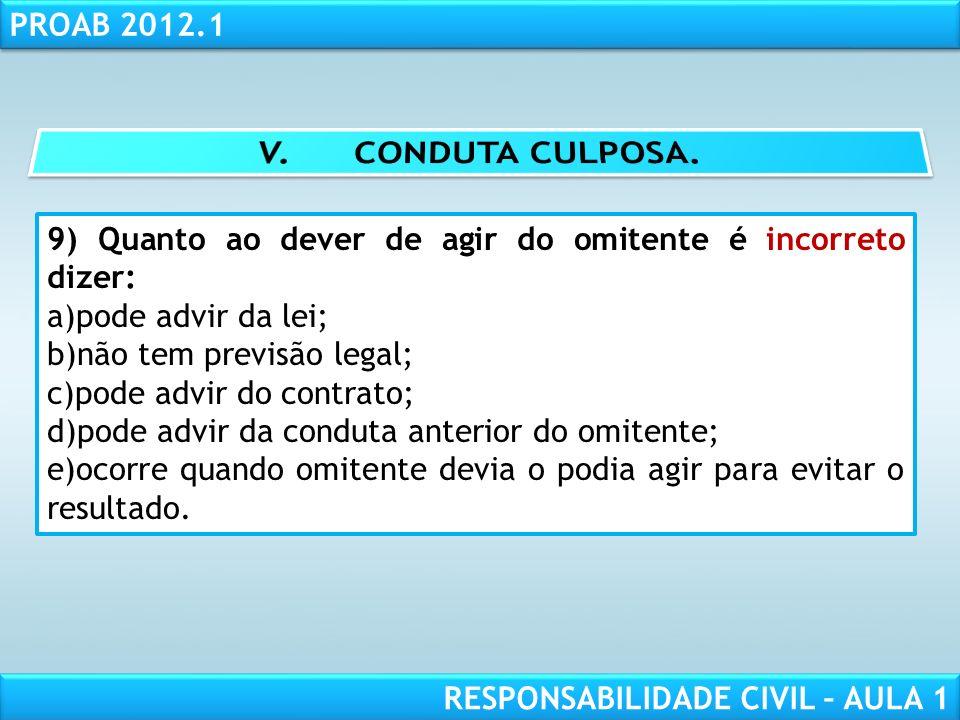 RESPONSABILIDADE CIVIL AULA 1 PROAB 2012.1 RESPONSABILIDADE CIVIL – AULA 1 9) Quanto ao dever de agir do omitente é incorreto dizer: a)pode advir da l
