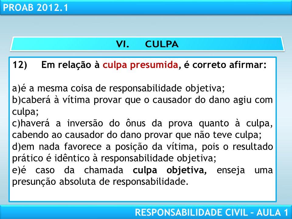 RESPONSABILIDADE CIVIL AULA 1 PROAB 2012.1 RESPONSABILIDADE CIVIL – AULA 1 12)Em relação à culpa presumida, é correto afirmar: a)é a mesma coisa de re
