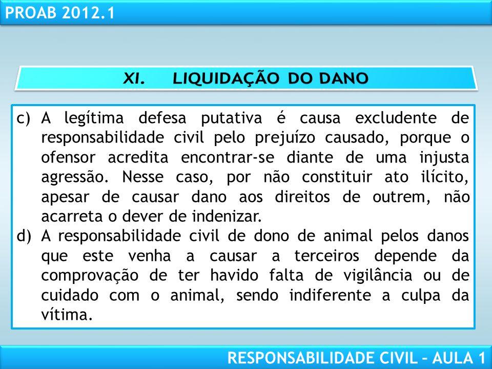 RESPONSABILIDADE CIVIL AULA 1 PROAB 2012.1 RESPONSABILIDADE CIVIL – AULA 1 c)A legítima defesa putativa é causa excludente de responsabilidade civil p