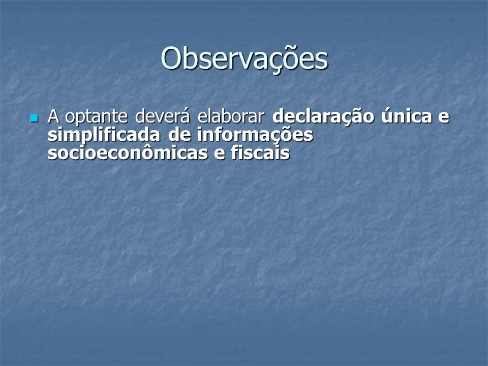 Observações A optante deverá elaborar declaração única e simplificada de informações socioeconômicas e fiscais A optante deverá elaborar declaração ún