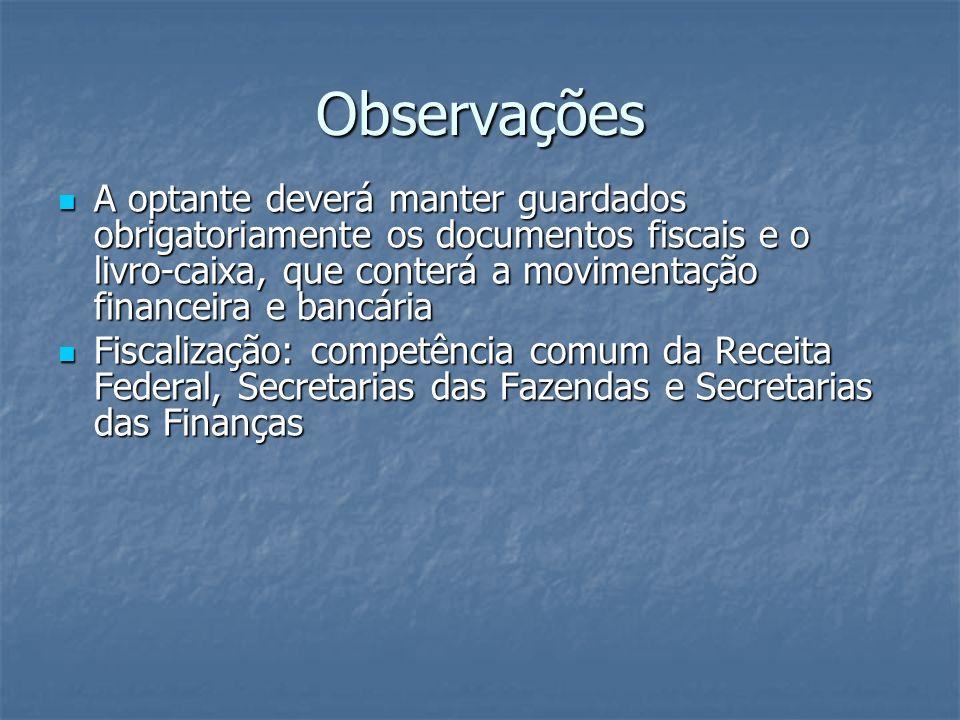 Observações A optante deverá manter guardados obrigatoriamente os documentos fiscais e o livro-caixa, que conterá a movimentação financeira e bancária