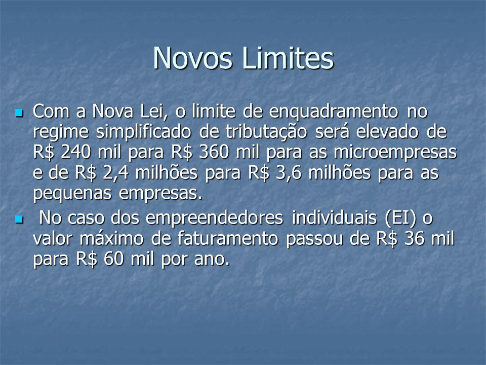 Novos Limites Com a Nova Lei, o limite de enquadramento no regime simplificado de tributação será elevado de R$ 240 mil para R$ 360 mil para as microe