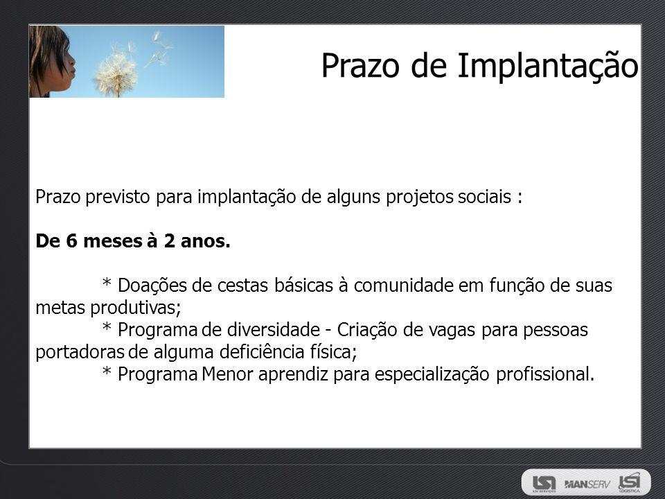 Prazo de Implantação Prazo previsto para implantação de alguns projetos sociais : De 6 meses à 2 anos. * Doações de cestas básicas à comunidade em fun