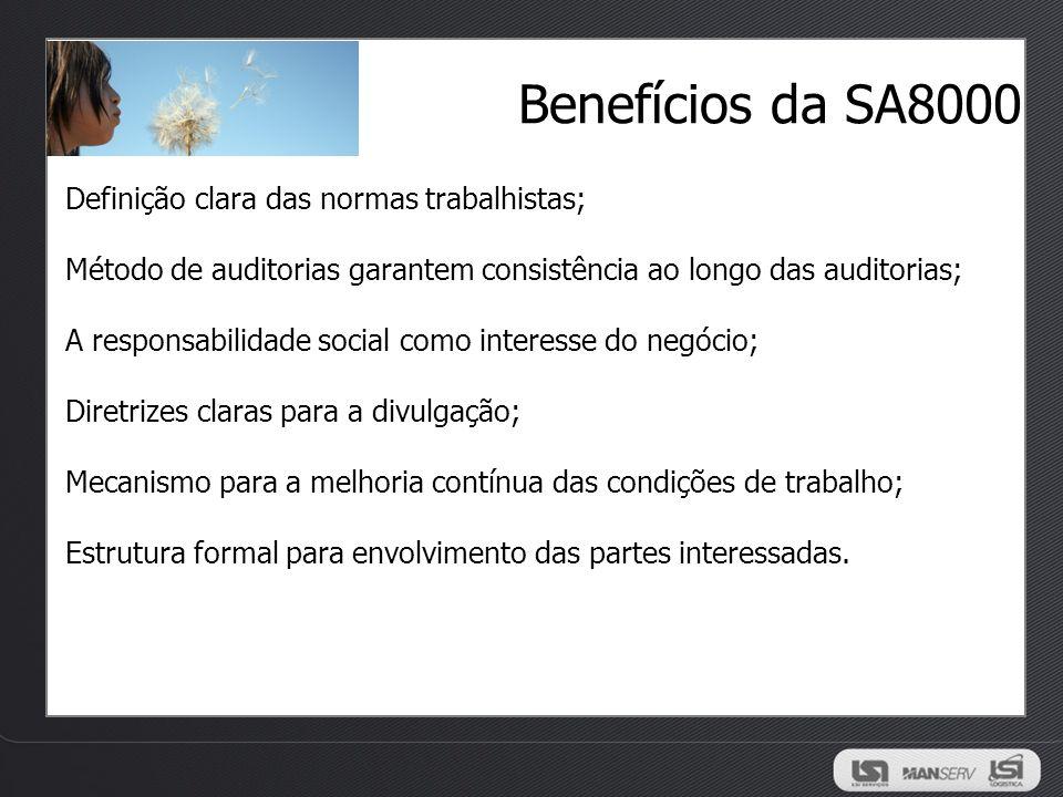 Benefícios da SA8000 Definição clara das normas trabalhistas; Método de auditorias garantem consistência ao longo das auditorias; A responsabilidade s
