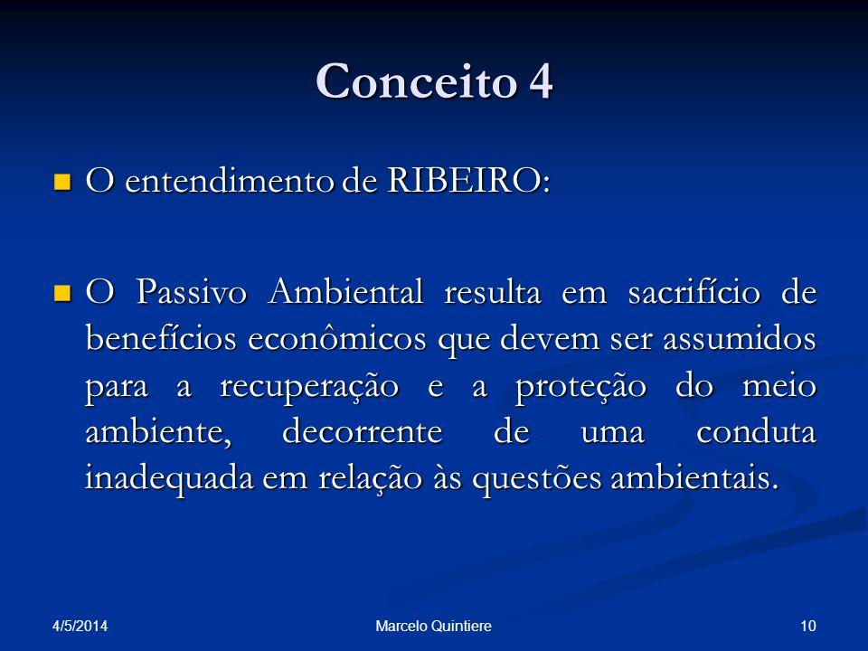 Conceito 4 O entendimento de RIBEIRO: O entendimento de RIBEIRO: O Passivo Ambiental resulta em sacrifício de benefícios econômicos que devem ser assu