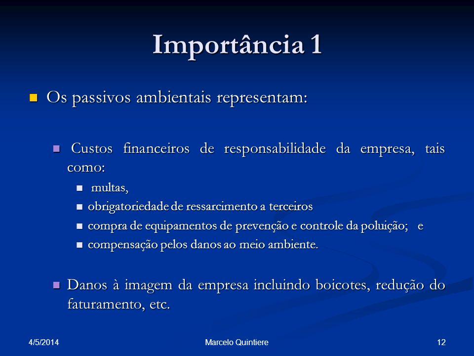 Importância 1 Os passivos ambientais representam: Os passivos ambientais representam: Custos financeiros de responsabilidade da empresa, tais como: Cu