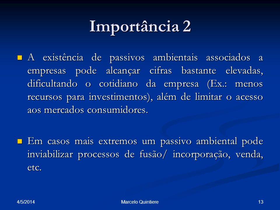 Importância 2 A existência de passivos ambientais associados a empresas pode alcançar cifras bastante elevadas, dificultando o cotidiano da empresa (E