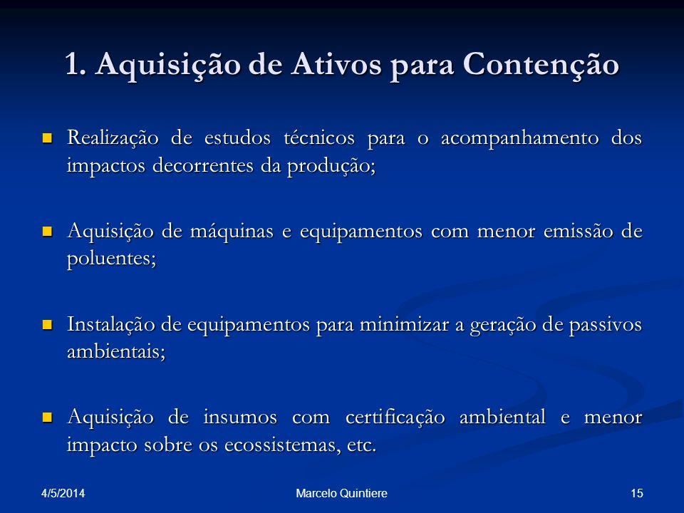 1. Aquisição de Ativos para Contenção Realização de estudos técnicos para o acompanhamento dos impactos decorrentes da produção; Realização de estudos