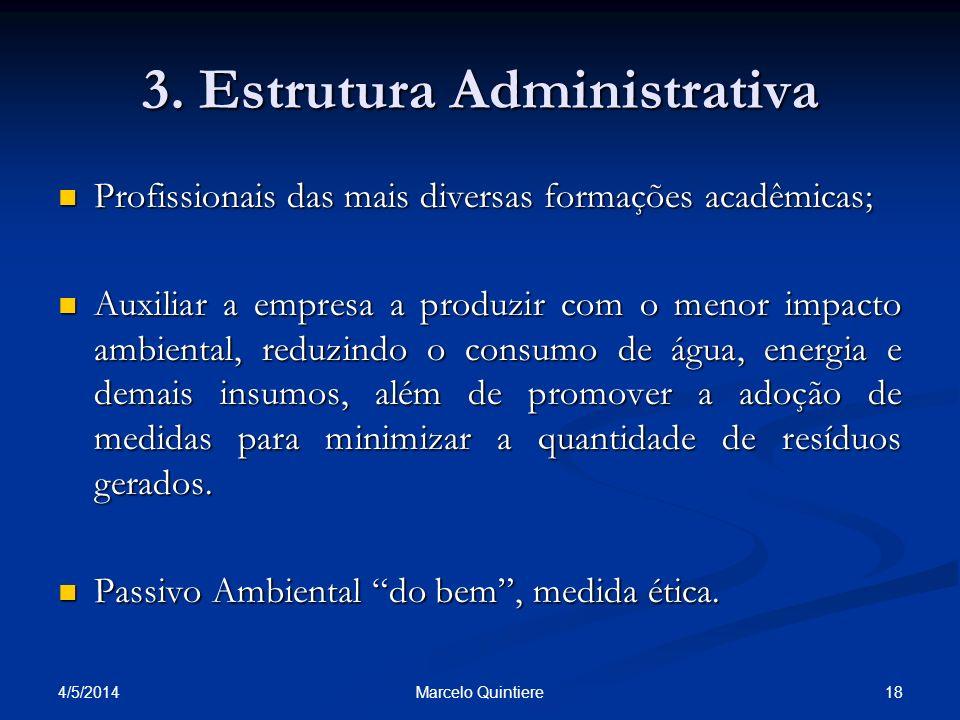 3. Estrutura Administrativa Profissionais das mais diversas formações acadêmicas; Profissionais das mais diversas formações acadêmicas; Auxiliar a emp