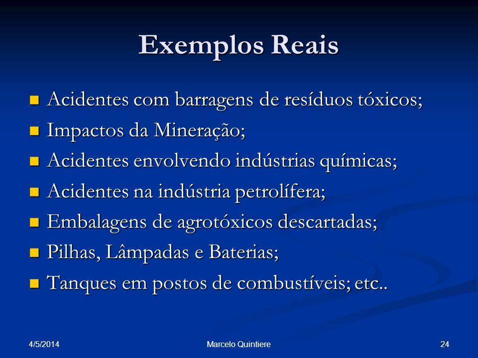 4/5/2014 24Marcelo Quintiere Exemplos Reais Acidentes com barragens de resíduos tóxicos; Acidentes com barragens de resíduos tóxicos; Impactos da Mine