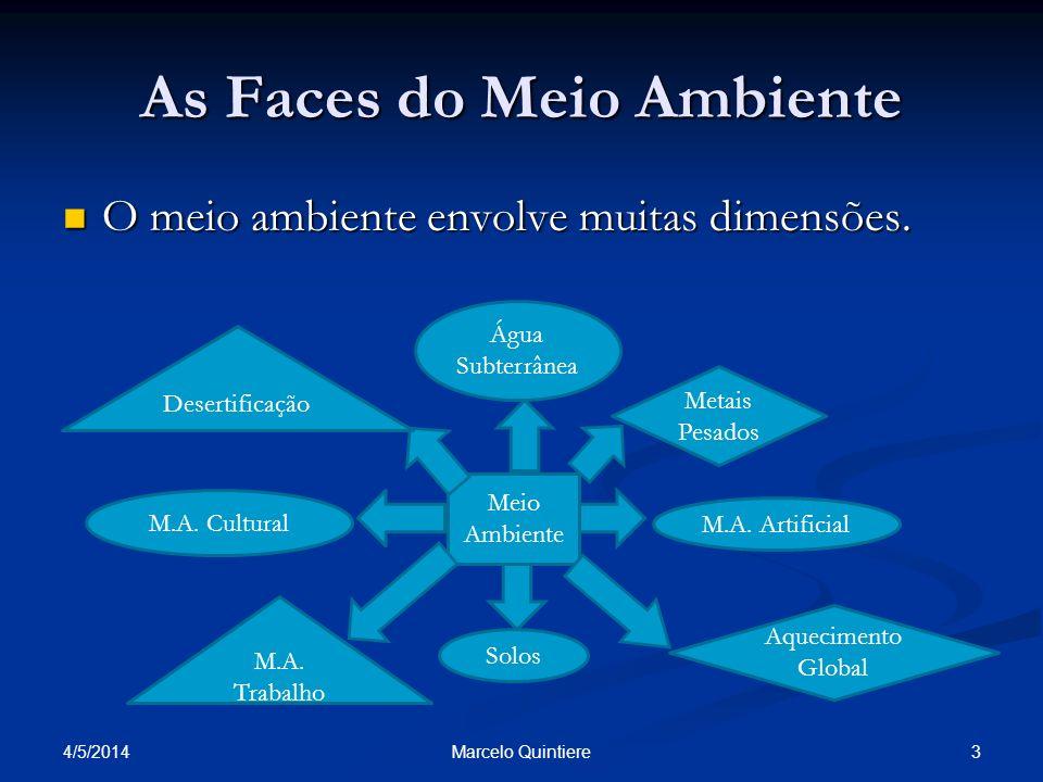 As Faces do Meio Ambiente O meio ambiente envolve muitas dimensões. O meio ambiente envolve muitas dimensões. 4/5/2014 3Marcelo Quintiere Meio Ambient
