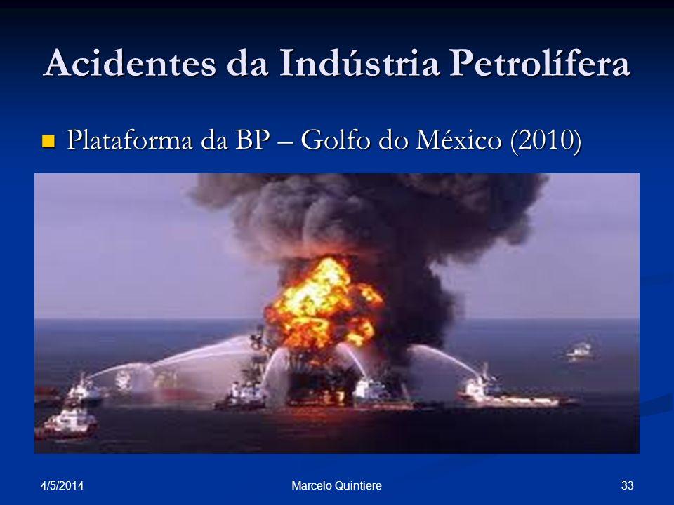 4/5/2014 33Marcelo Quintiere Acidentes da Indústria Petrolífera Plataforma da BP – Golfo do México (2010) Plataforma da BP – Golfo do México (2010)