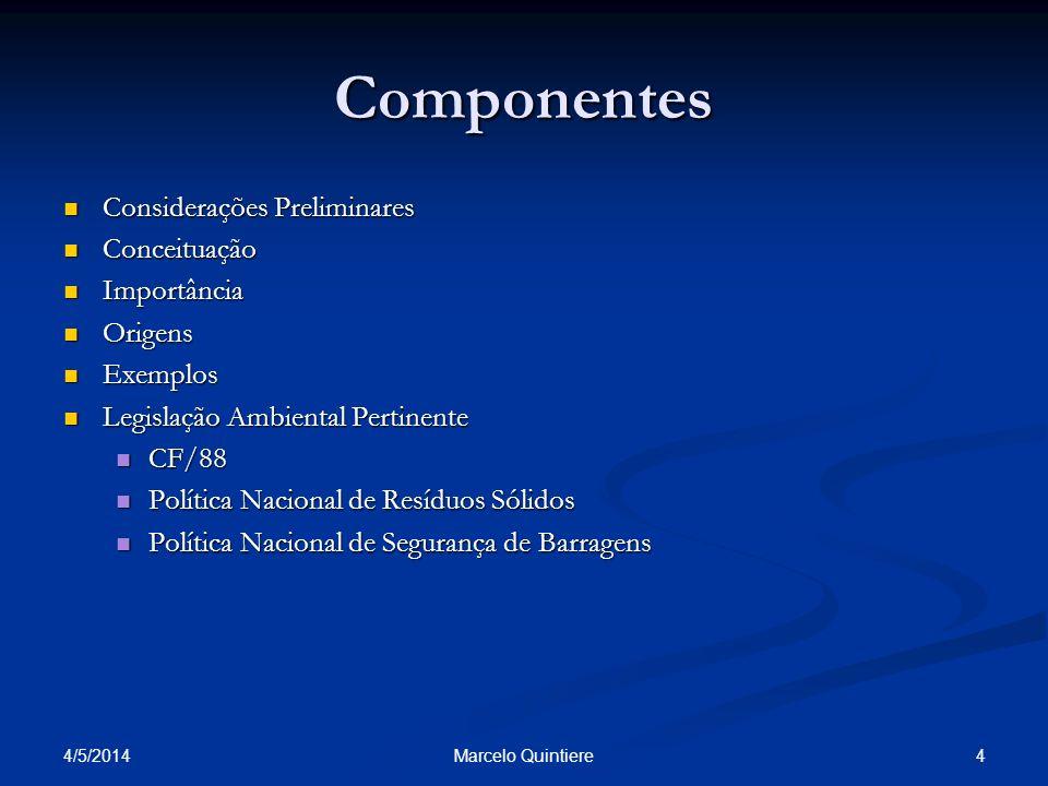4/5/2014 4Marcelo Quintiere Componentes Considerações Preliminares Considerações Preliminares Conceituação Conceituação Importância Importância Origen