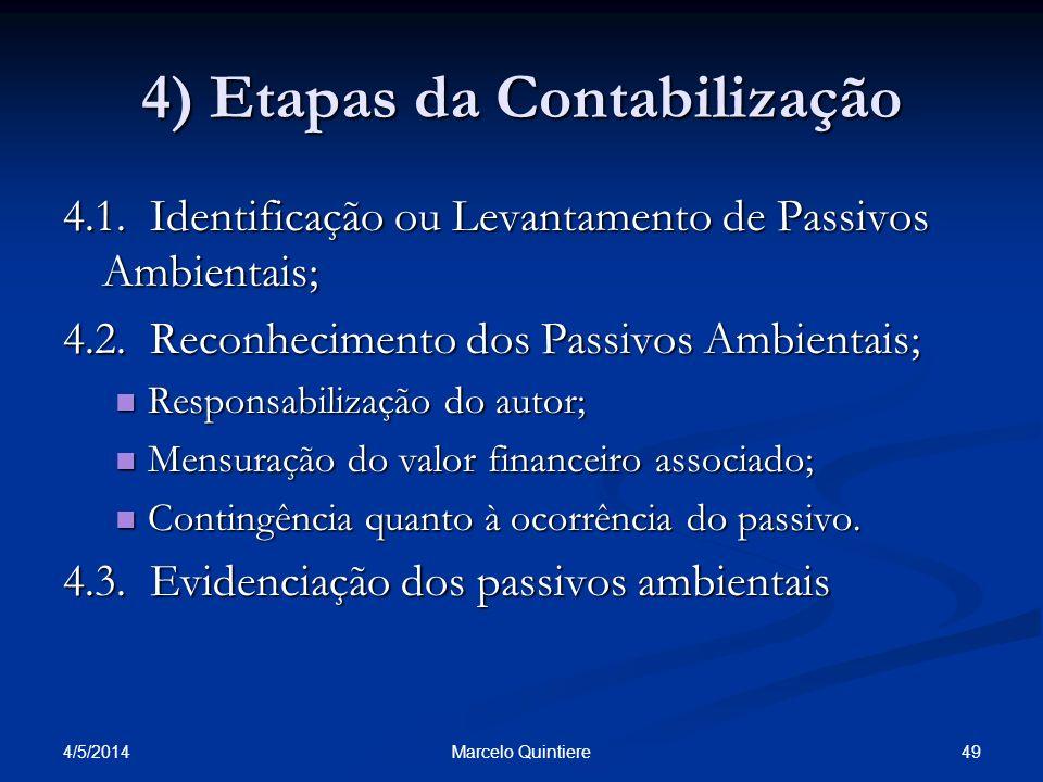 4) Etapas da Contabilização 4.1. Identificação ou Levantamento de Passivos Ambientais; 4.2. Reconhecimento dos Passivos Ambientais; Responsabilização