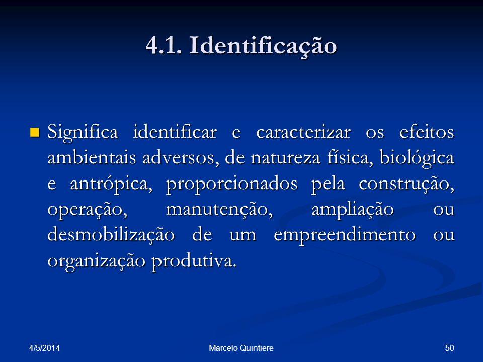4.1. Identificação Significa identificar e caracterizar os efeitos ambientais adversos, de natureza física, biológica e antrópica, proporcionados pela