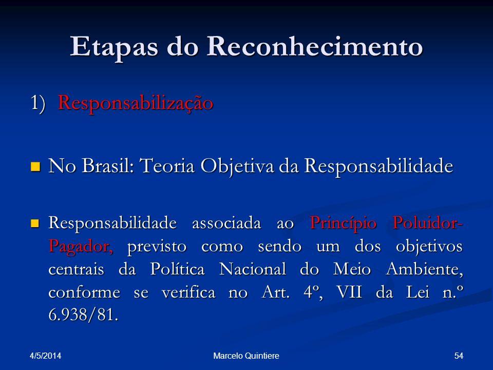 Etapas do Reconhecimento 1) Responsabilização No Brasil: Teoria Objetiva da Responsabilidade No Brasil: Teoria Objetiva da Responsabilidade Responsabi