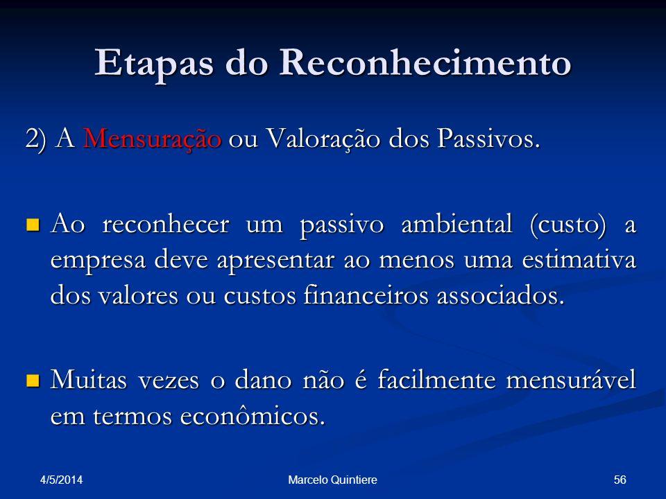 Etapas do Reconhecimento 2) A Mensuração ou Valoração dos Passivos. Ao reconhecer um passivo ambiental (custo) a empresa deve apresentar ao menos uma