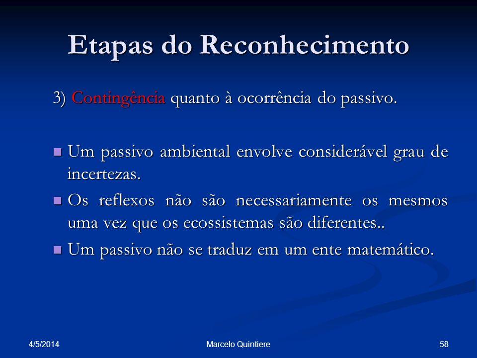Etapas do Reconhecimento 3) Contingência quanto à ocorrência do passivo. Um passivo ambiental envolve considerável grau de incertezas. Um passivo ambi