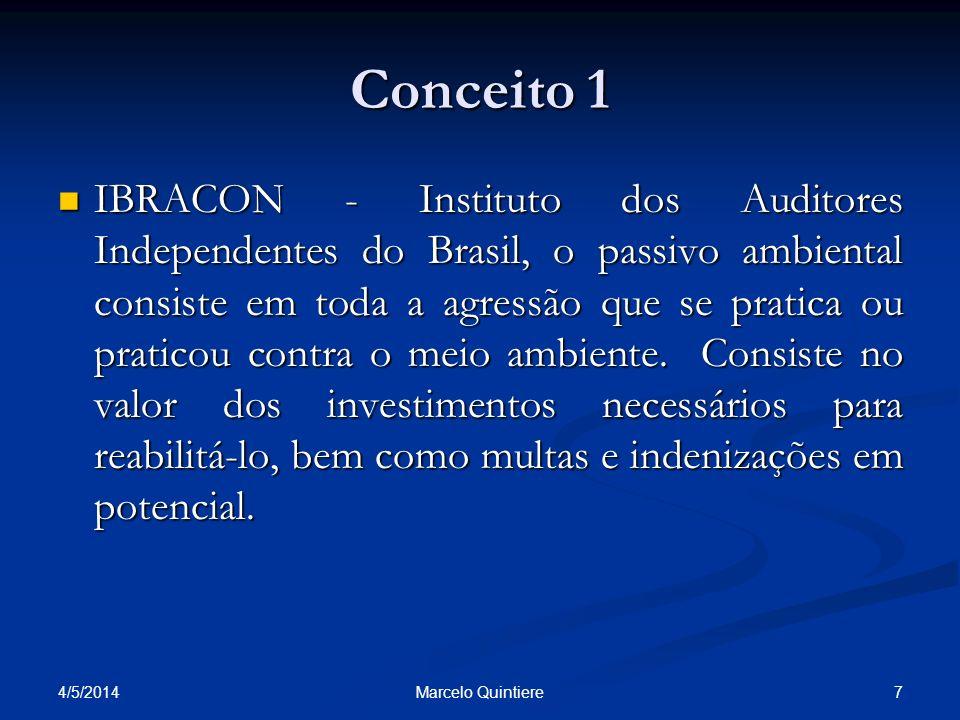 4/5/2014 7Marcelo Quintiere Conceito 1 IBRACON - Instituto dos Auditores Independentes do Brasil, o passivo ambiental consiste em toda a agressão que