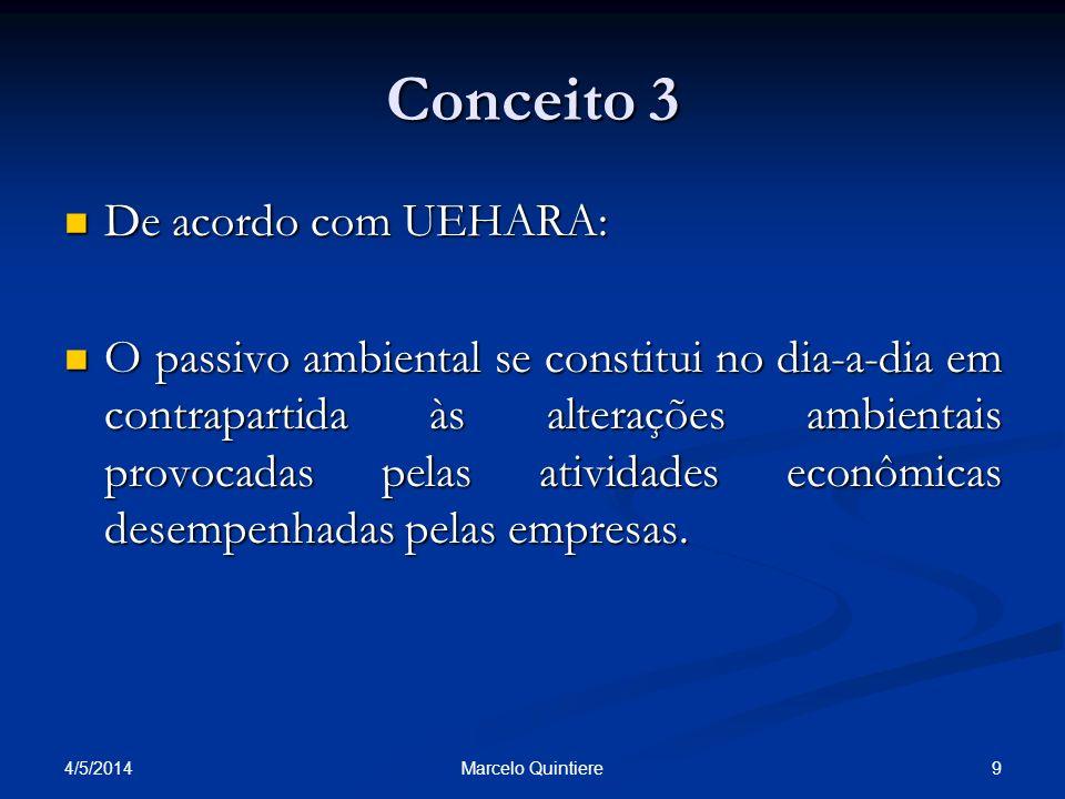 Conceito 4 O entendimento de RIBEIRO: O entendimento de RIBEIRO: O Passivo Ambiental resulta em sacrifício de benefícios econômicos que devem ser assumidos para a recuperação e a proteção do meio ambiente, decorrente de uma conduta inadequada em relação às questões ambientais.