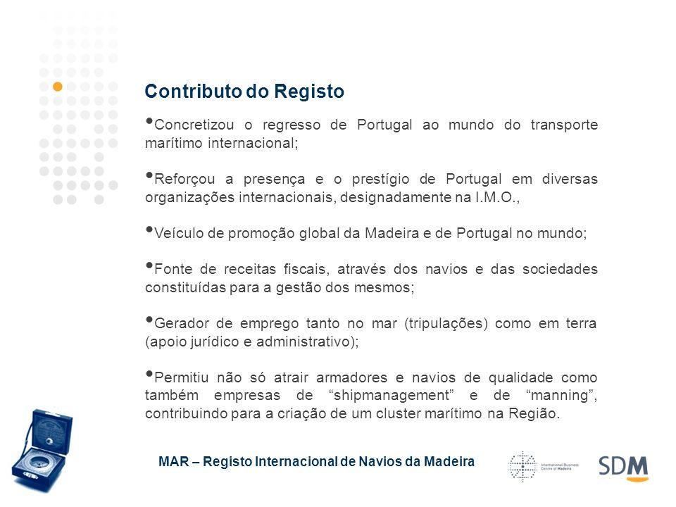 Concretizou o regresso de Portugal ao mundo do transporte marítimo internacional; Reforçou a presença e o prestígio de Portugal em diversas organizaçõ