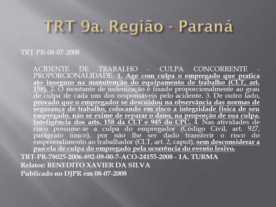 TRT-PR-08-07-2008 ACIDENTE DE TRABALHO - CULPA CONCORRENTE - PROPORCIONALIDADE. 1. Age com culpa o empregado que pratica ato inseguro na manutenção do