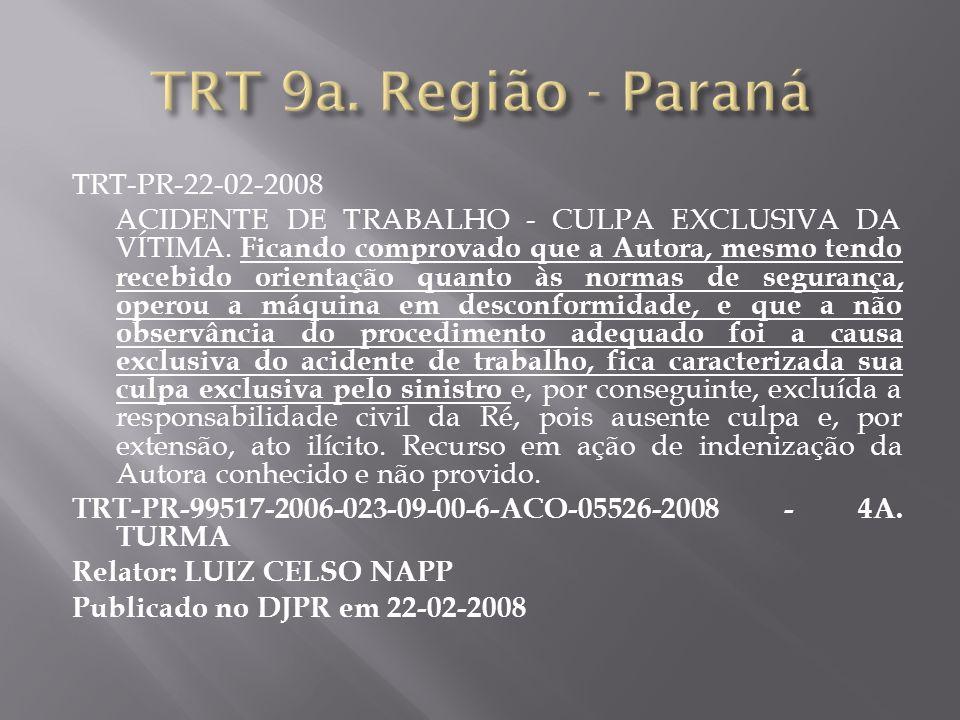 TRT-PR-22-02-2008 ACIDENTE DE TRABALHO - CULPA EXCLUSIVA DA VÍTIMA. Ficando comprovado que a Autora, mesmo tendo recebido orientação quanto às normas